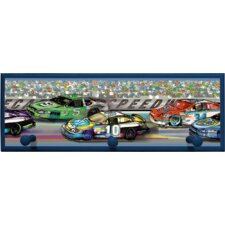 Race Cars Wall Plaque with Wooden Pegs
