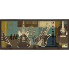 Guitar Collage Wall Plaque with Wooden Pegs