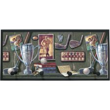 Vintage Golf Painting Print on Plaque with Pegs