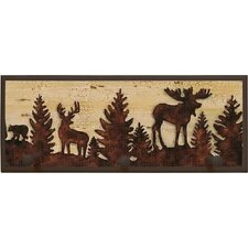 Forest Animal Silhouettes Painting Print on Plaque with Pegs
