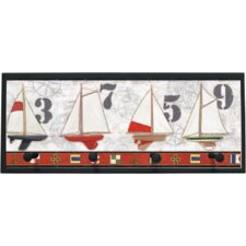 Captains Harbor Graphic Art on Plaque with Pegs
