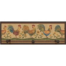 Rooster Framed Painting Print with Pegs