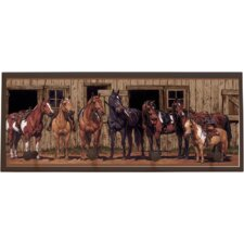 At The Stable Painting Print on Plaque
