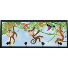 Monkeys Framed Painting Print with Pegs