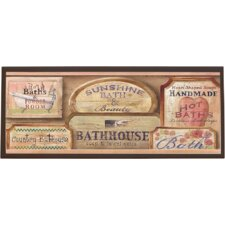 Bath House Vintage Wall  Painting Print on Plaque