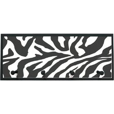 Zebra Framed Graphic Art with Pegs