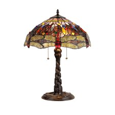 "Dragonfly Dragon 23"" H Table Lamp with Bowl Shade"