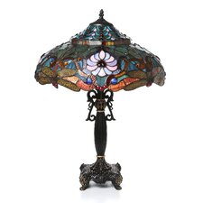 "Tiffany Dragonfly 27"" H Table Lamp with Bowl Shade"