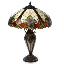 """Tiffany Roosevelt 25"""" H Table Lamp with Bowl Shade"""
