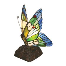 """Tiffany Butterfly 10"""" H Table Lamp with Novelty Shade"""