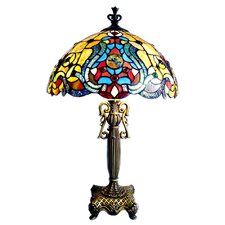 "Tiffany Victorian 25.5"" H Table Lamp with Bowl Shade"