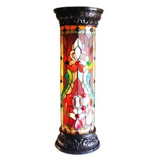 "Ruby Spectacle Tiffany-Glass 2-Light Victorian 30"" H Pedestal Floor Light Fixture"