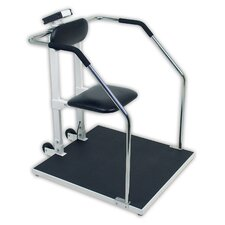 Digital Chair Scale or Stand On Scale with Flip Up Seat and Concealed Wheels