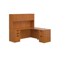 Superior Laminate Credenza Desk with 3 Left and 2 Right Drawers