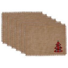 Tree Embroidered Burlap Placemat (Set of 6)