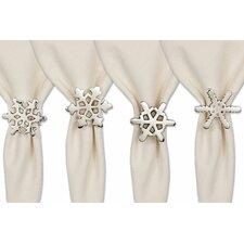 4 Piece Silver Snowflake Napkin Ring Set