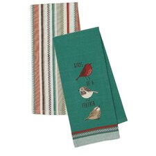 2 Piece Embroidered Birds Of a Feather & Flutter Stripe Dishtowel Set