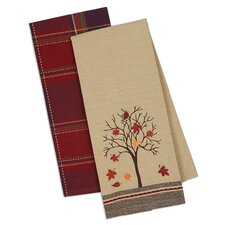 2 Piece Fall Tree Dishtowel Set
