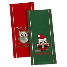 2 Piece Happy Owlidays Dishtowel Set