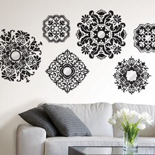 6 Piece Baroque Wall Decal Set