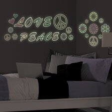 MyStyle Glow in the Dark Peace Love Flowers Wall Decal Kit