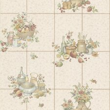 "Kitchen and Bath Resource II Raised 33' x 20.5"" Food Embossed Tile Wallpaper"