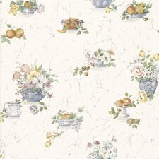 """Kitchen and Bath Resource II 33' x 20.5"""" Fruit and Floral Embossed Wallpaper"""