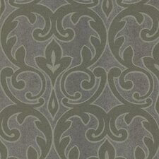 """Kitchen and Bath Resource II Salon Outline 33' x 20.5"""" Damask Embossed Wallpaper"""