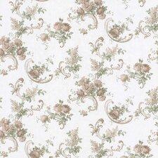 "Satin Rose 33' x 20.5"" Floral Embossed Wallpaper"