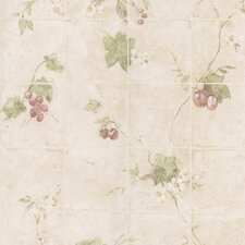 """Kitchen and Bath Resource II 33' x 20.5"""" Floral and Botanical Embossed Tile Wallpaper"""