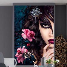 Ideal Decor Midnight Rose Wall Mural