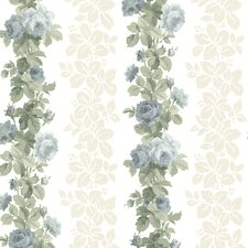 "Claremont Preshea Rose 33' x 20.5"" Stripes Floral Embossed Wallpaper"