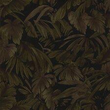 "Kitchen & Bath Resource III 33' x 20.5"" Raven Palm Tree Leaf Embossed Wallpaper"