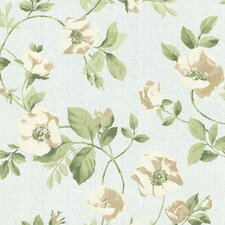 "Claremont Dorothea Dog Rose Trail 33' x 20.5"" Floral Embossed Wallpaper"