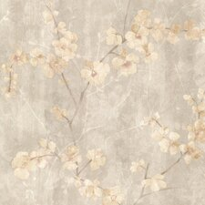 "Kitchen & Bath Resource III Chapman Cherry Blossom Trail 33' x 20.5"" Floral Embossed Wallpaper"