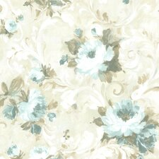 "Rosemore Jasmine Floral Scroll 33' x 20.5"" Wallpaper"