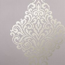 "Sparkle Lux Foil Damask 33' x 20.5"" Wallpaper"