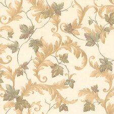 """Kitchen, Bed And Bath Resource IV 33' x 20.5"""" Alessia Scrolling Leaf Wallpaper"""