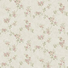 "The Cottage Rose Valley 33' x 20.5"" Floral Scroll Wallpaper"