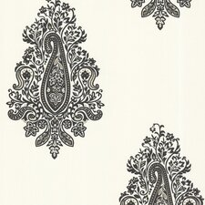 "Zinc 33' x 20.5"" Dynasty Damask Paisley Embossed Wallpaper"