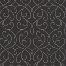 "Accents Alouette Mod Swirl 33' x 20.5"" Scroll Embossed Wallpaper"