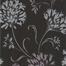 """Accents Nerida Floral Silhouette 33' x 20.5"""" Floral and Botanical Embossed Wallpaper"""