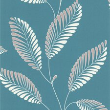 "Accents Aubrey Modern Leaf Trail 33' x 20.5"" Floral and Botanical Embossed Wallpaper"