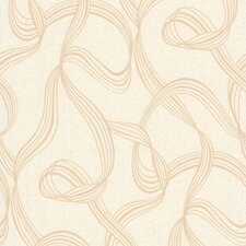 "Decadence Aria Ribbon Swirl 33' x 20.5"" Abstract Embossed Wallpaper"