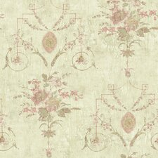 "Pompei Naples Floral Fresco Distressed 33' x 20.5"" Floral and Botanical Embossed Wallpaper"