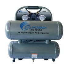 4.6 Gallon Ultra Quiet and Oil-Free 2.0 HP Aluminum Twin Tank Air Compressor