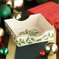 Holiday Napkin Holder with Red Napkins (Set of 4)