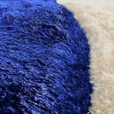 Shaggy Blue/Ivory Abstract 2-Tone Large Wave Area Rug