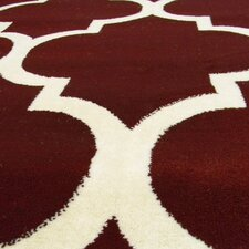 Tiffany Burgundy/Ivory Geometric Area Rug