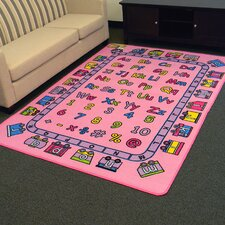 Paradise Alphabets Train Pink Outdoor Area Rug